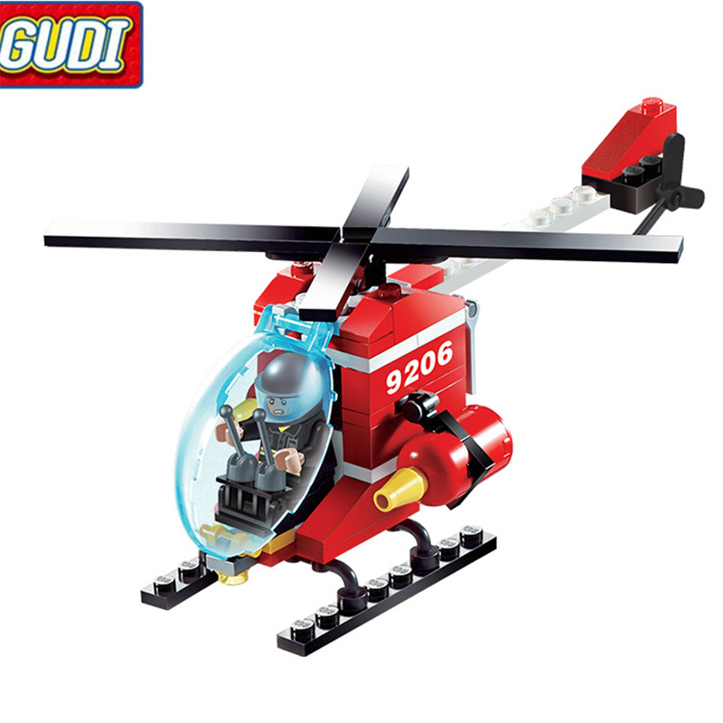 91pcs Fire Helicopter Children Educational Assembled DIY Model Kids Toys Gift Building Blocks Brick 9206 111pcs children blocks toys police series helicopter blocks toys assembled model building kits educational diy toys for kids