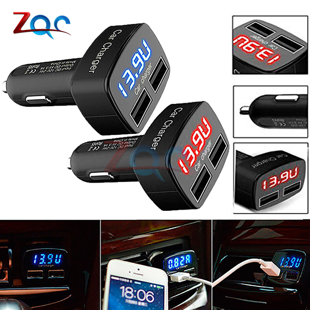DC 5V 3.1A 4 In 1 LED Digital Voltmeter Ammeter Thermometer Dual USB Universal Car Charger Voltage Current Temperature Meter