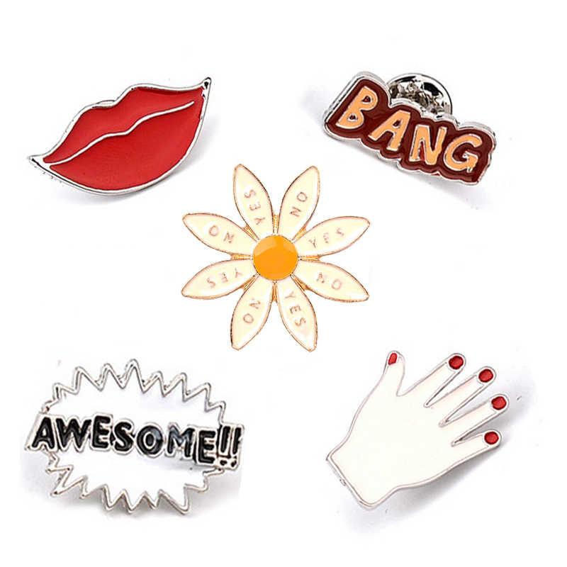 Keren Merah Bibir Jari Mengagumkan Bang Surat Bros Tombol Bunga Matahari Pin Denim Jaket Kemeja Pin Lencana Perhiasan Hadiah untuk Mencintai anak-anak