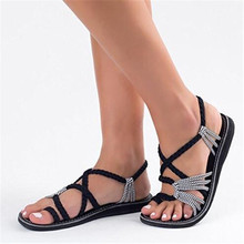 2019 summer Women Sandals Fashion Gladiator Summer Shoes Female Flat Rome Style Cross Tied 35-44