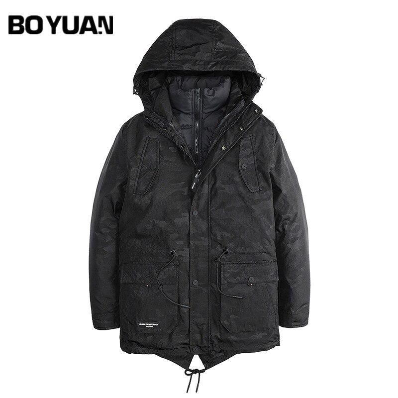 BOYUAN Winter Jacket Men Hood 2 in 1 Men Parka New Fashion Casual Winter Parka Men Camouflage Thick Hooded Jackets Warm HX2781 цена