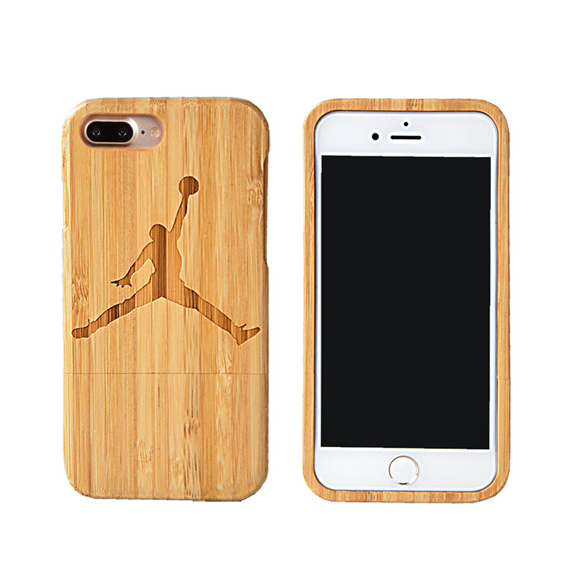Wood Jordan Pattern Bamboo Case For iPhone 7 Plus 7 5 SE 6 6s Plus Wooden