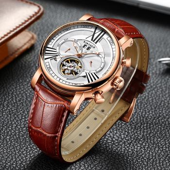 KINYUED Top Luxury Brand Mens Wrist Watches Military Calendar Mechanical Automatic Watch Men Tourbillon Sports erkek kol saati