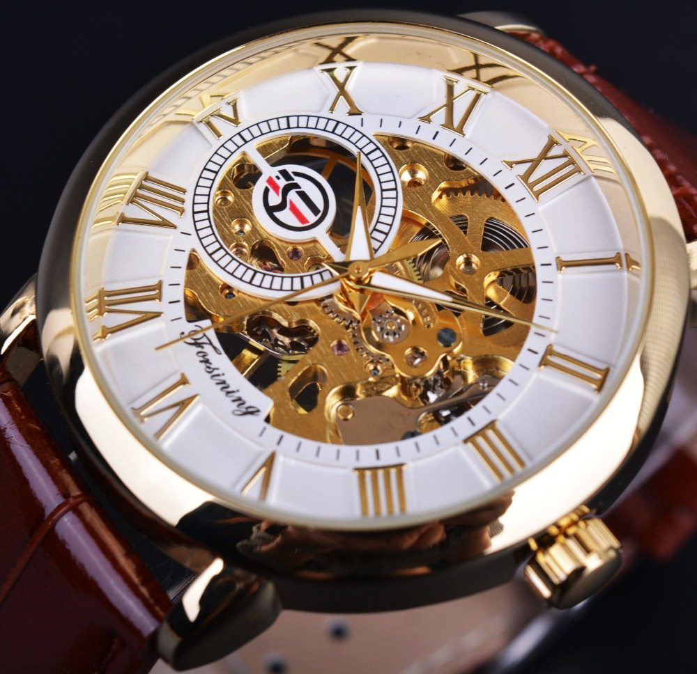 Forsining 3d Logo Design Hollow Engraving White Golden Dial Gold Watch Men Luxury Brand Men Wristwatch Skeleton Mechanical Watch