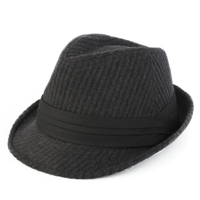 00996e43b1f Dropwow FS Black Gray Striped Trilby Hat For Men Vintage Wool Felt ...