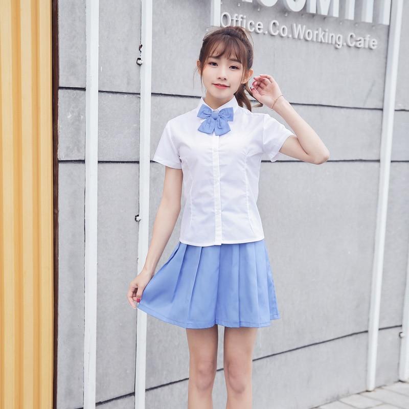 Girls Summer School Uniform Students Short Sleeve School Wear Navy Sailor Suit Performance Suit Short-sleeved Shirt Suit  D-0573