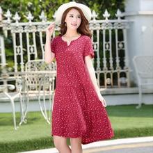 Новое прибытие 2017 лето dot dress vestido тонкий свободные V-образным Вырезом повседневная женская одежда хлопок лоскутное vestidos платья плюс размер