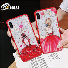 Red Silicone Phone Case For iPhone 7 8 Plus XS Max XR Cute Patterned Flower Leopard Clear Cover For iPhone 6 S 6S Plus X Case