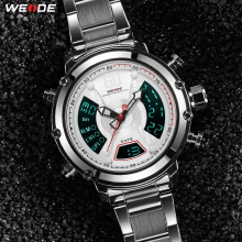 WEIDE New Arrival Top Luxury Brand Analog Digital Dual Display Quartz Men Sport Watch Business Stainless Steel Strap Wristwatch
