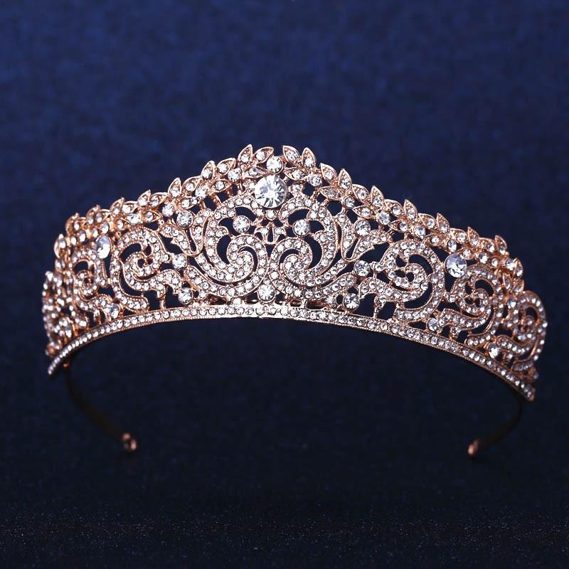 Rose Banhado A Ouro de Casamento Nupcial Da Dama de Honra Floristas tiara de Cristal coroa de Strassheadband