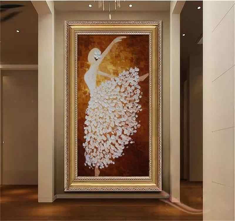 קיר קיר מדבקת תמונה מותאמת אישית לא ארוג טפט 3d טפט חדר ציור מרפסת רקדנית בלט שצויר ביד טהורה עבור קיר 3d