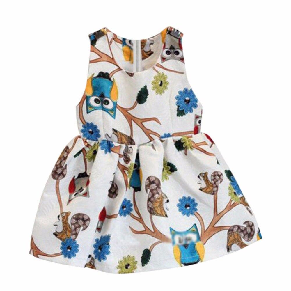 Cute Kids Baby Girls Sleeveless Owl Print Tutu Dress One Piece Evening Party S07 summer kids girls tutu one piece sleeveless big bowknot party floral dress