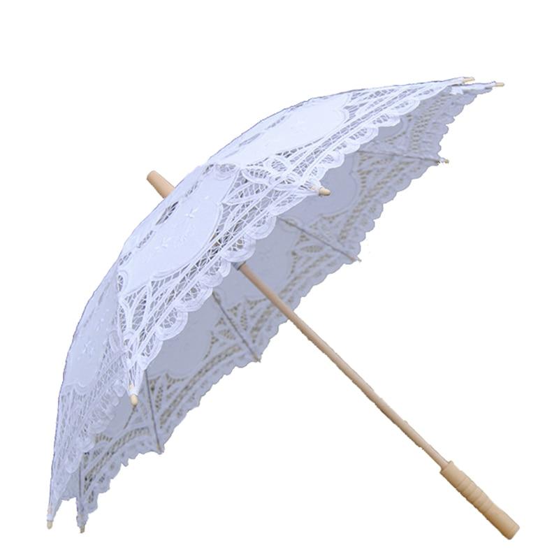 Elegant Cotton Embroidery Lace Parasol Outdoor Summer Sun Umbrella for Wedding Decoration Photograph Bridal Bridesmaid Umbrella