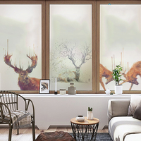 Free Custom Size Glass Window Film Static Cling No Glue Opaque Window Stickers Frosted Decals Brown Living Room XK23