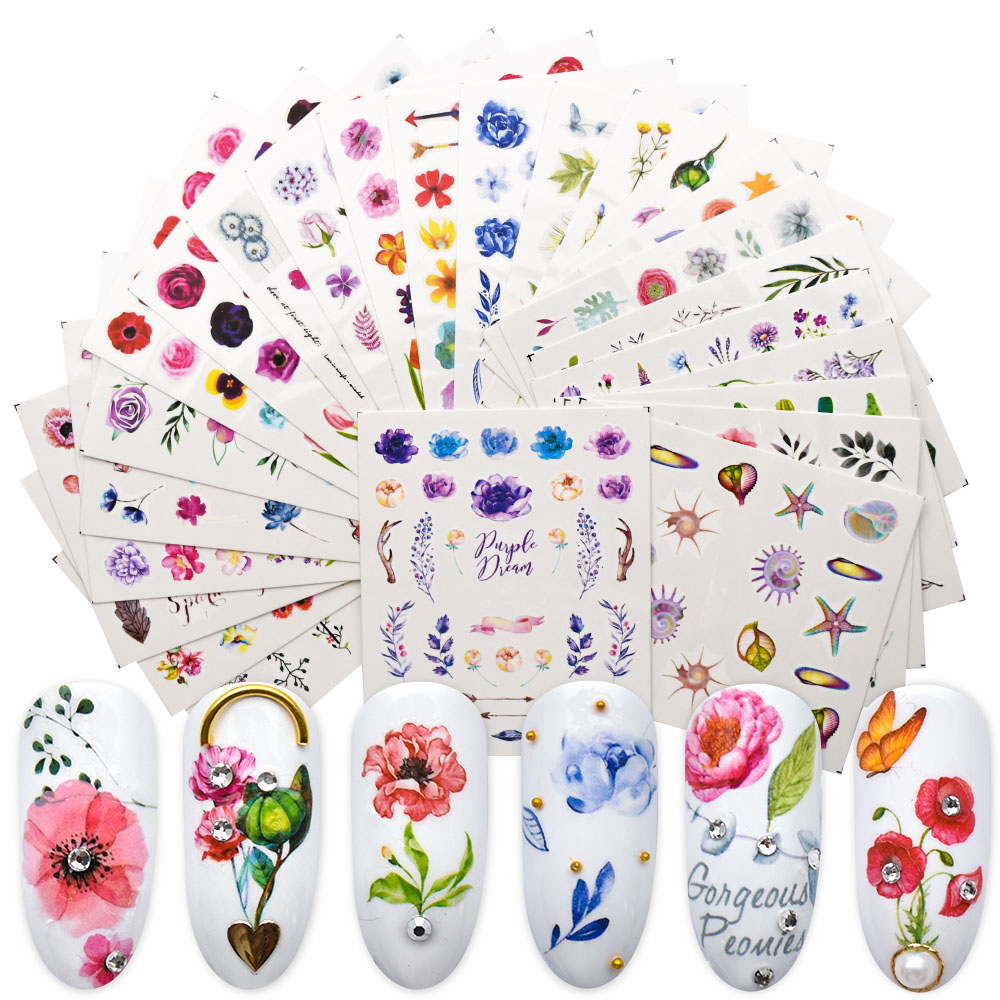 24PCS Water Slider For Nail Stickers Flower Flamingo Stickers On Nails Manicure Sticker For Nails Art Decorations ZJT4023