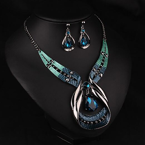 Colgante de cadena para mujer, Gargantilla, collar con pechera, pendientes, conjunto de joyería para mujer, boda 2020 1