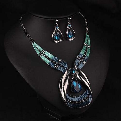 נשים הצהרת שרשרת תליון קולר ביב שרשרת עגילי תכשיטים סט