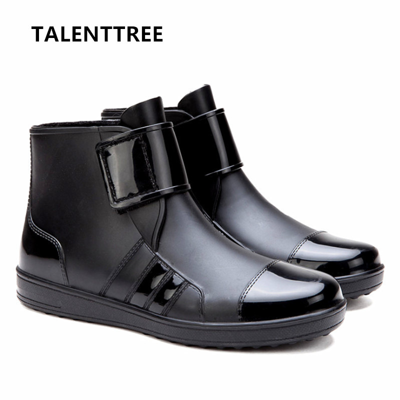 TALENTTREE Pvc Waterproof Rain Boots Waterproof Flat With Shoes Men Rain Unisex Water Rubber Ankle Boots Buckle Botas M014