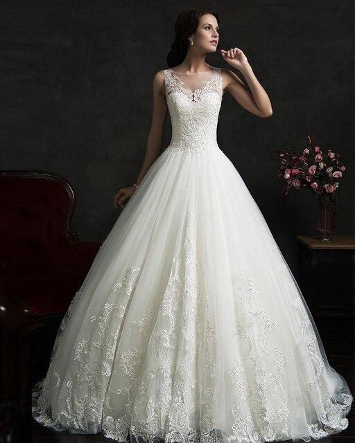 2017 Vestido De Noiva Renda Vintage Lace Princess Wedding Dresses Ball Gown White Dress Robe