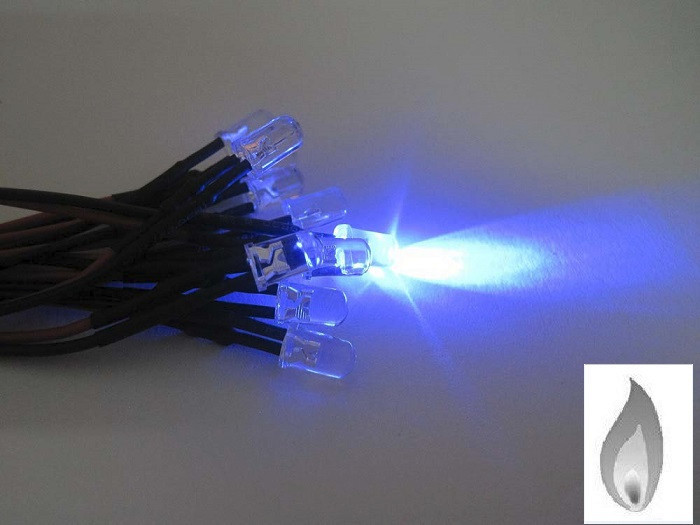 Free Shipping 1000pcs 5mm Blue Flicker 12V Pre-Wired Water Clear LED Leds Candle Light 20CM