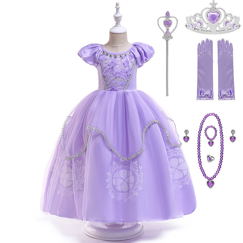 Elegant   Flower     Girls   Wedding Party Princess Sofia   Dress   Kid Carnival Cosplay Clothes Puff Short Sleeve Sofia the First Ball Gown