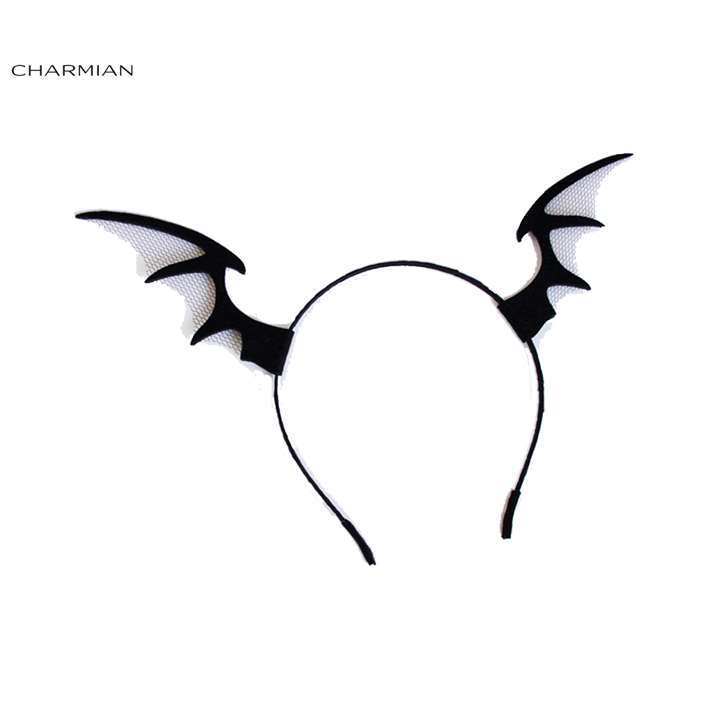Charmian Women's Black Bat Wings Holloween Party Hairbands Hair Clasp Hair Hoop