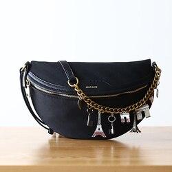 Canvas Waist Bag for Women men Waist Pack Waist Bag Funny Pack Belt Bag Men Chain Waist Bag For Phone Pouch Bolso Purse Buik