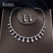 Rakol dubai luxo aaa zircão cúbico gota de água brincos de casamento colar para mulheres conjuntos de jóias de noiva azul acessórios de festa