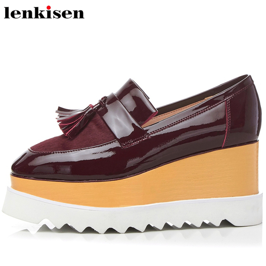 Lenkisen 2018 new fashion squre toe slip on cow leather fur fringed brand causal shoes wedges retro high heels women pumps L33