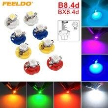 FEELDO – lampe d'intérieur LED pour tableau de bord, 2 pièces, 7 couleurs, 12V, B8.4d/BX8.4d, 1SMD, calibre 5050, # HQ4236