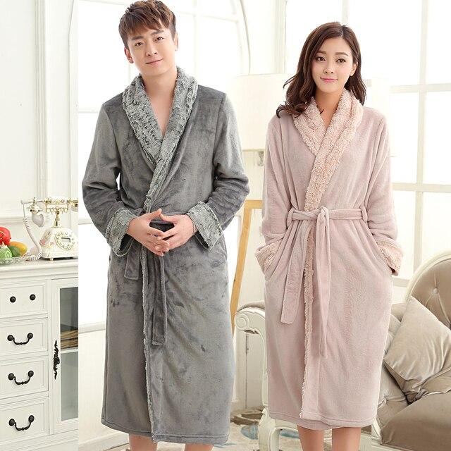 New Style Mens Luxury Fur Soft Silk Flannel Extra Long Bath Robe Men Kimono  Bathrobe Lovers Warm Dressing Gown Male Nightgown de281af4f2e8