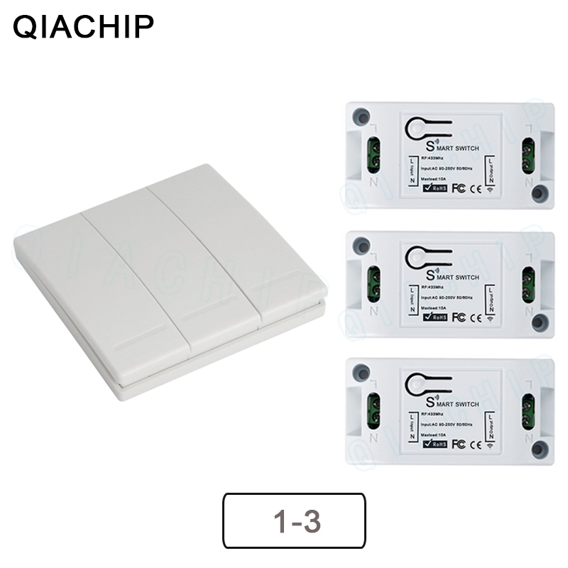 QIACHIP 433Mhz Wireless Remote Control Switch AC 110V 220V RF Receiver Lamp Light LED Switches Corridor Room Wall Panel Switch