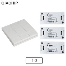 QIACHIP 433Mhz Wireless Remote Control Switch AC 110V 220V RF Receiver Lamp Light LED Switches Corridor Room Wall Panel Switch(China)