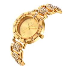 2016 Nuevo Lujo Estrenar BGG Mujeres de Oro de Acero Inoxidable Reloj de Cristal de Cuarzo Casual Ginebra Relojes de Cuarzo Relogio Feminino Venta Caliente