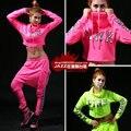 Новая весна мода свободного покроя джаз с длинными рукавами розовый зеленый лучших спуск костюм хип-хоп неон сексуальный танец футболки