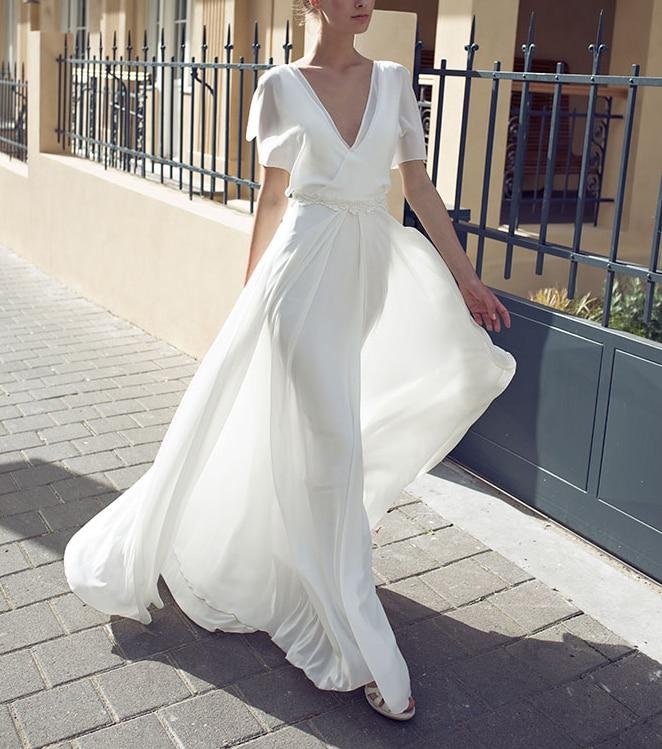 93ecefe653985 Fleepmart 2019 Summer Casual Long Boho Beach Style Dress White Sexy Flare  Sleeve Deep V-neck Maxi Chiffon Dresses Vestidos for Women