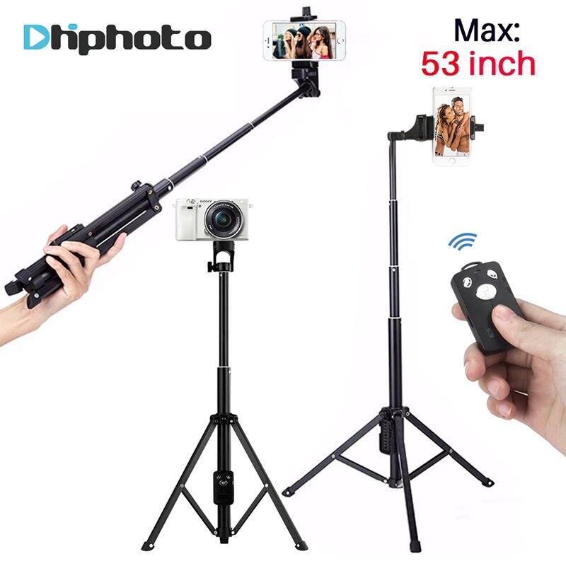 137 cm/53in 3 em 1 Handheld Tripé Monopé Selfie Vara com Obturador Remoto Bluetooth Alumínio Tripé de Viagem para Câmera do iphone