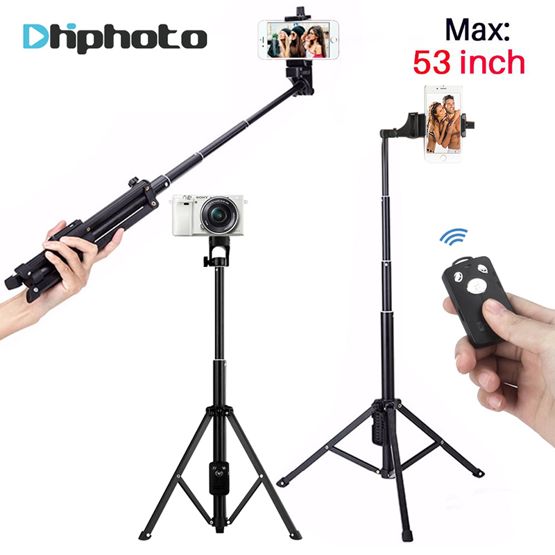 137 cm/53in 3 in 1 Portatile Treppiede Selfie Stick Monopiede con Scatto Remoto Bluetooth di Alluminio Treppiedi di Corsa per Macchina Fotografica iPhone