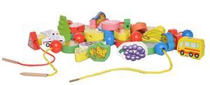 Image 5 - 26個木のおもちゃ赤ちゃんdiyのおもちゃの漫画フルーツ動物糸スレッディング木製のビーズのおもちゃmonterssori子供のための教育gyh