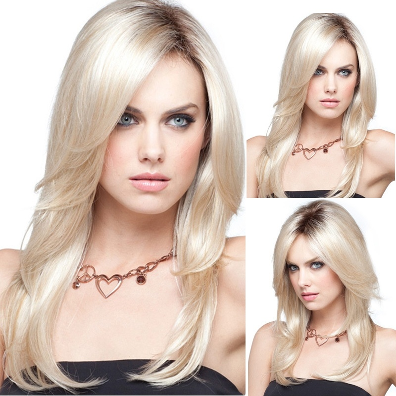 High Temperature Fiber Long Gold Straight Platinum Blonde Wig Hair Costume Wigs Glueless Heat Resistant Wigs For Women
