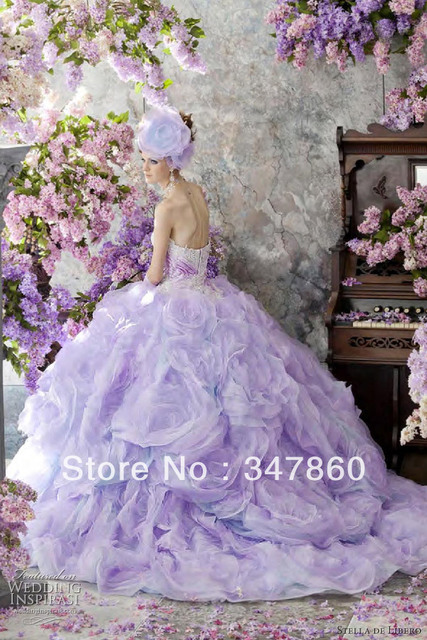 shipping free dream Pretty romantic wedding dresses Stella de Libero pale pink ball gown gathered tulle skirt dotted