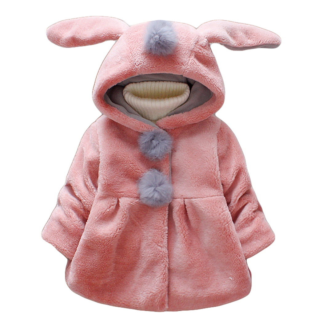 Baby Mädchen Mantel Niedlichen Cartoon Kaninchen Ohren Jacke Winter Kleidung Mit Fell Pom Pom Kleinkind Kapuzenjacke Säuglings Kinder Kleidung 2017 Elegant Im Geruch