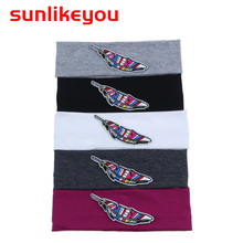 Sunlikeyou Colored Feather Embroidery Hair Band For Girls Accessories Cotton Elastic Boy Sports Turban Baby Headbands