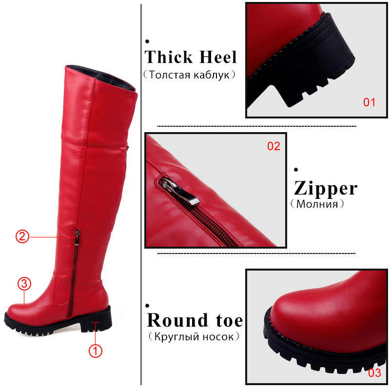 Tuyoki Artı Boyutu 30-52 Kadınlar Diz Çizmeler Üzerinde Kalın Kürk Sıcak Tanga Toka Fermuar Çizmeler Moda Temel Ayakkabı kadın ayakkabısı