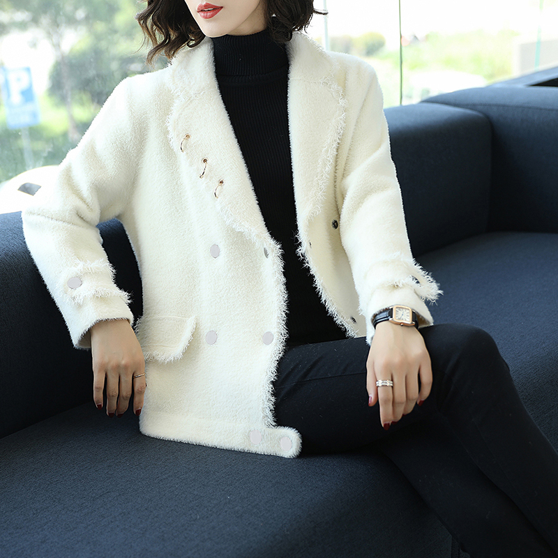 Marque Bord Janeluxury Solide Femmes Femelle Hiver Nouveau Outerware light Veste Couleur 2019 Simple Beige Manteau pourpre Brut Color De apricot Revers Blue Court White Épaissie Automne ZddxPqwr