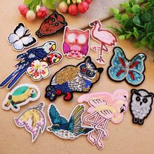 1Pcs Sequin Owl Bird Patch Heat Transfers Iron On Sew On Embroidery Patches for DIY Clothes Stickers Decorative Appliques 47268(China)