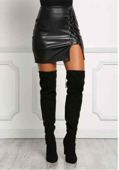 thigh high boots leather skirt