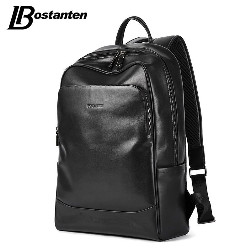 Retro Lederen mannen Rugzak Grote Capaciteit laptop tas school rugzak mannelijke schoudertassen Bruin lederen Travel Rugzakken - 3