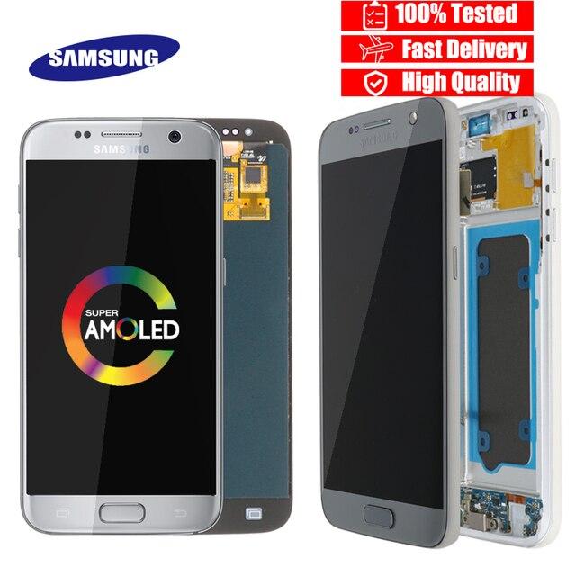 جودة عالية الأصلي 5.1 ''LCD قطع غيار سامسونج غالاكسي S7 عرض G930 G930F مجموعة المحولات الرقمية لشاشة تعمل بلمس مع الإطار