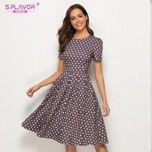 S.FLAVOR 레트로 폴카 도트 인쇄 여성 드레스 2021 여성 짧은 소매 빈티지 O 넥 봄 드레스 라인 파티 Vestidos 드